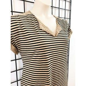 Pleione Top Short Sleeve Striped Polka Dot